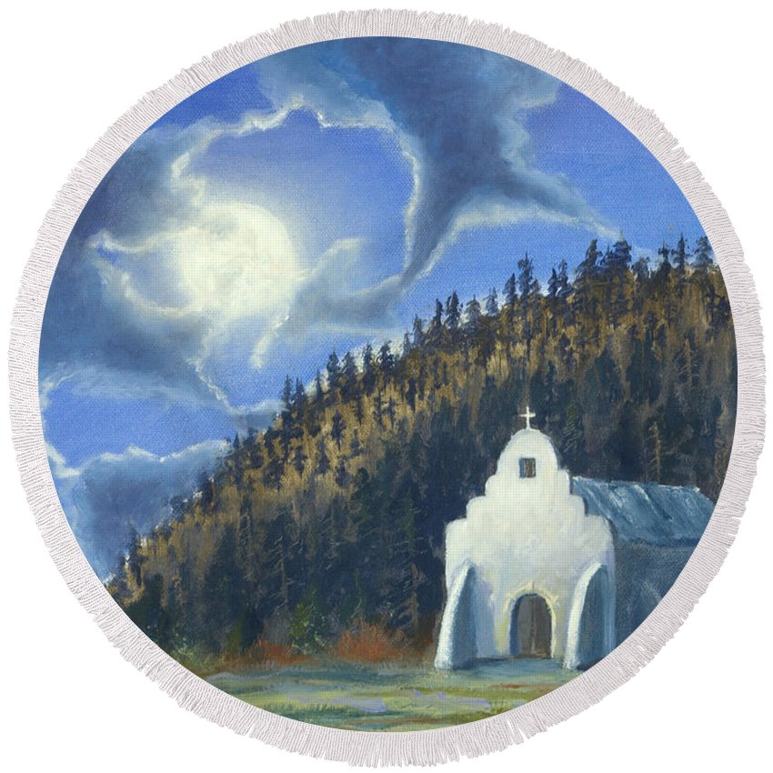 Landscape Round Beach Towel featuring the painting Dancing In The Moonlight by Jerry McElroy