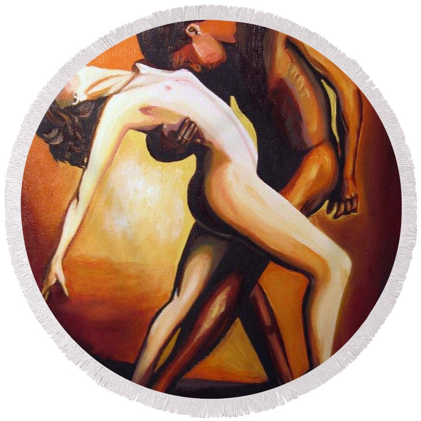 Nude Round Beach Towel featuring the painting Dancing by Jose Manuel Abraham