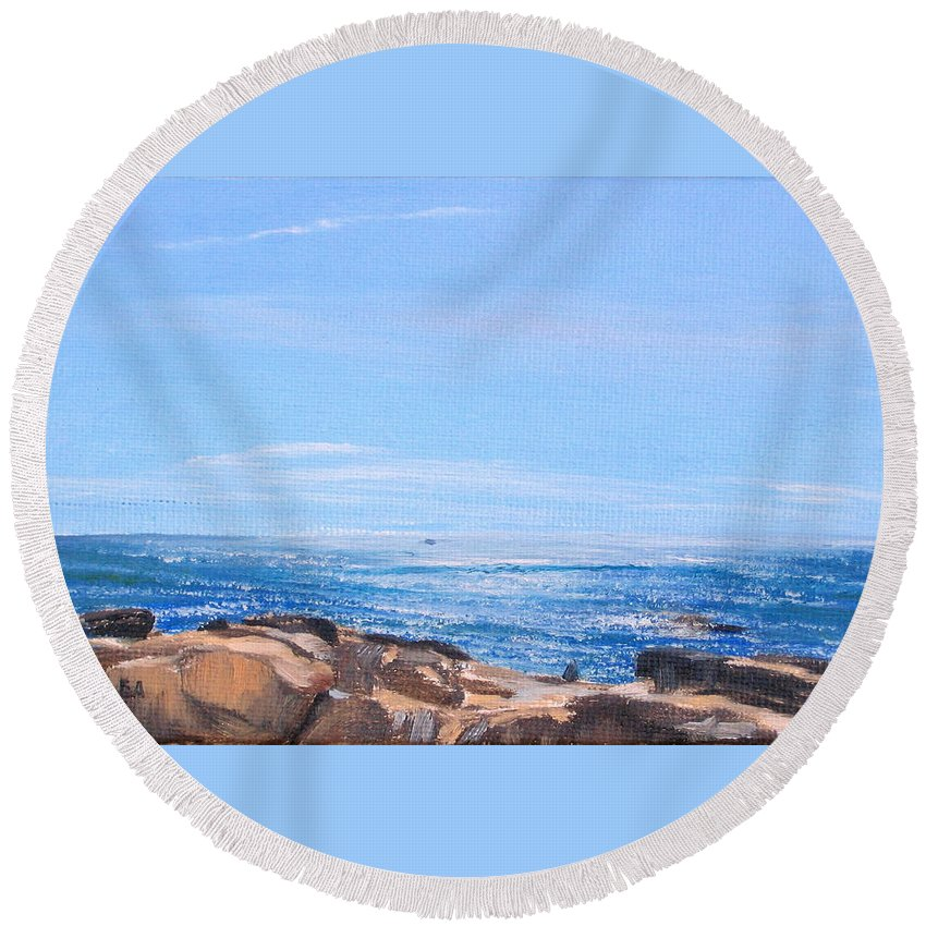 Seascape Round Beach Towel featuring the painting Dancing Light by Lea Novak