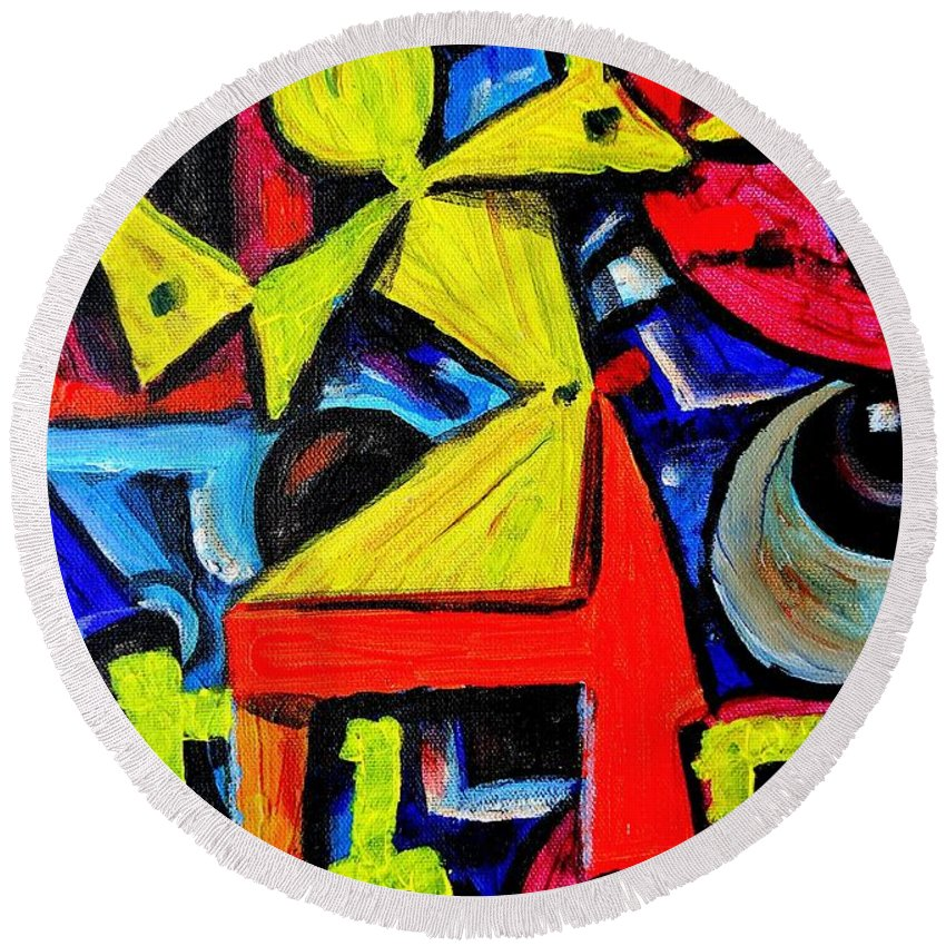 Abstract Round Beach Towel featuring the painting Dancing Naive #2 by Mbonu Emerem