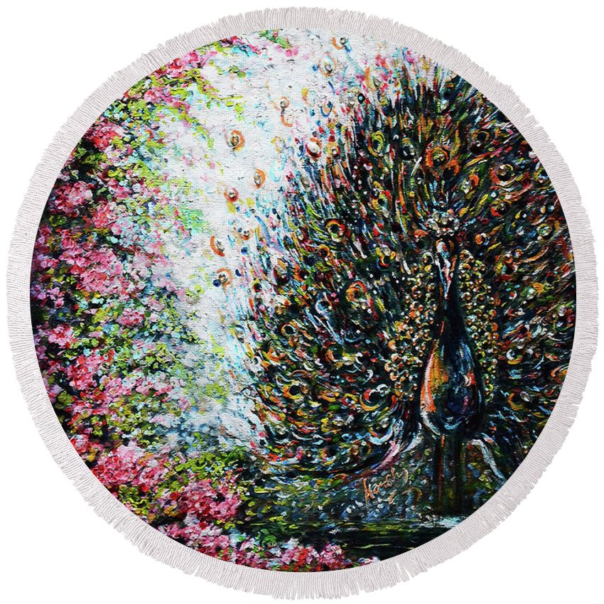 Peacock Round Beach Towel featuring the painting Dancing Peacock by Harsh Malik