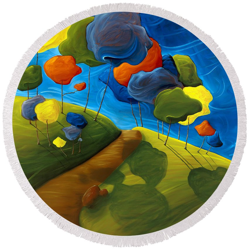 Landscape Round Beach Towel featuring the painting Dancing Shadows by Richard Hoedl