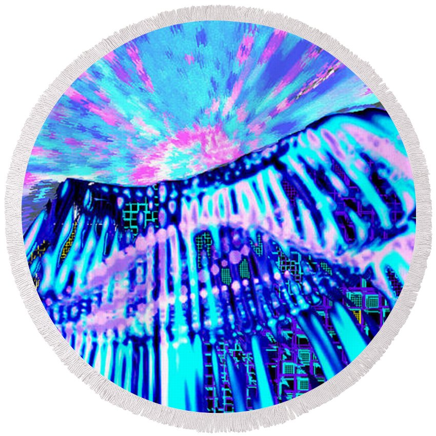 Aurora Borealis Round Beach Towel featuring the digital art Dancing Sky by Seth Weaver