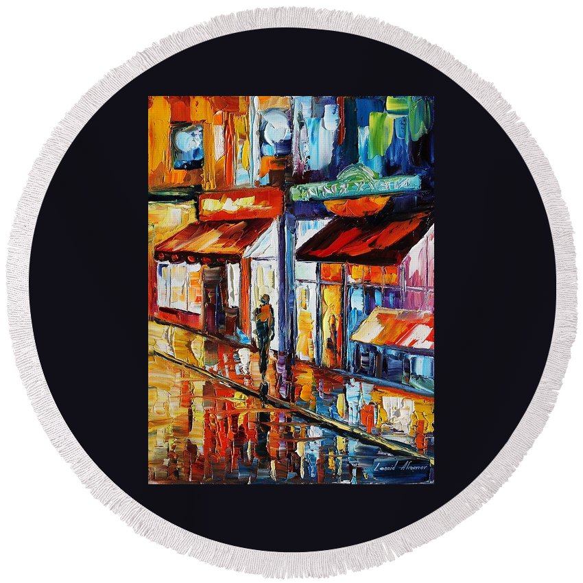 Afremov Round Beach Towel featuring the painting Dancing Street by Leonid Afremov