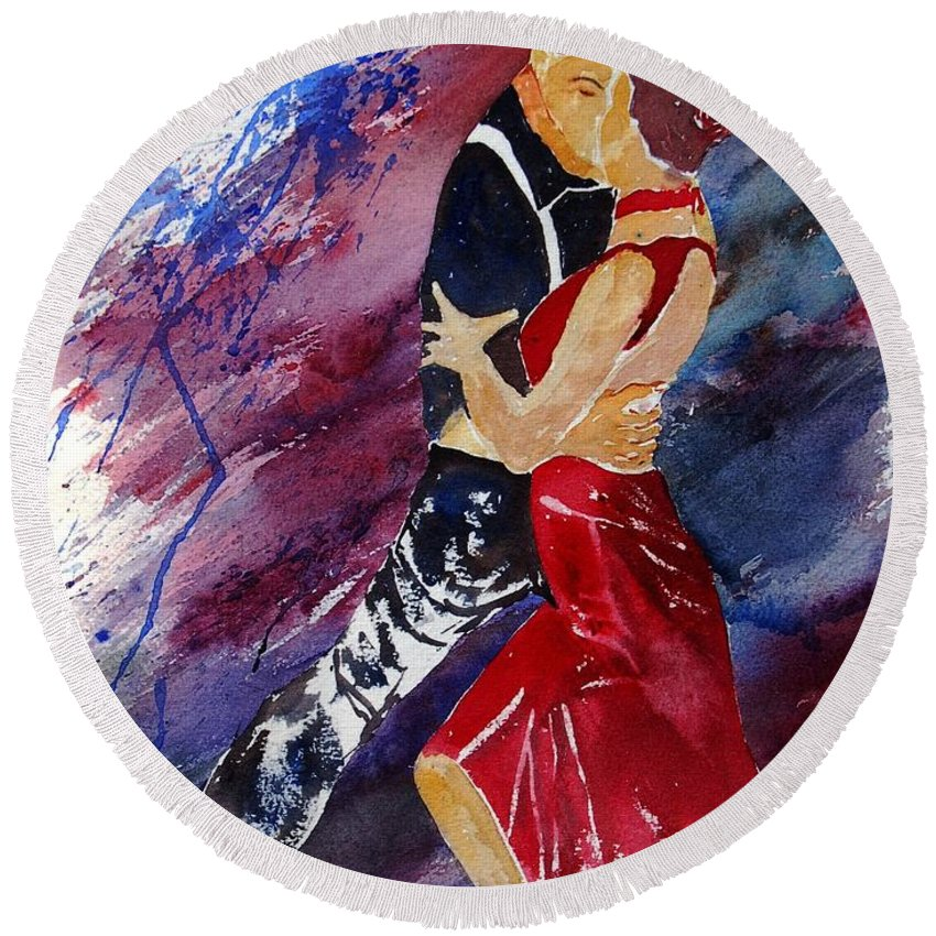 Tango Round Beach Towel featuring the painting Dancing Tango by Pol Ledent