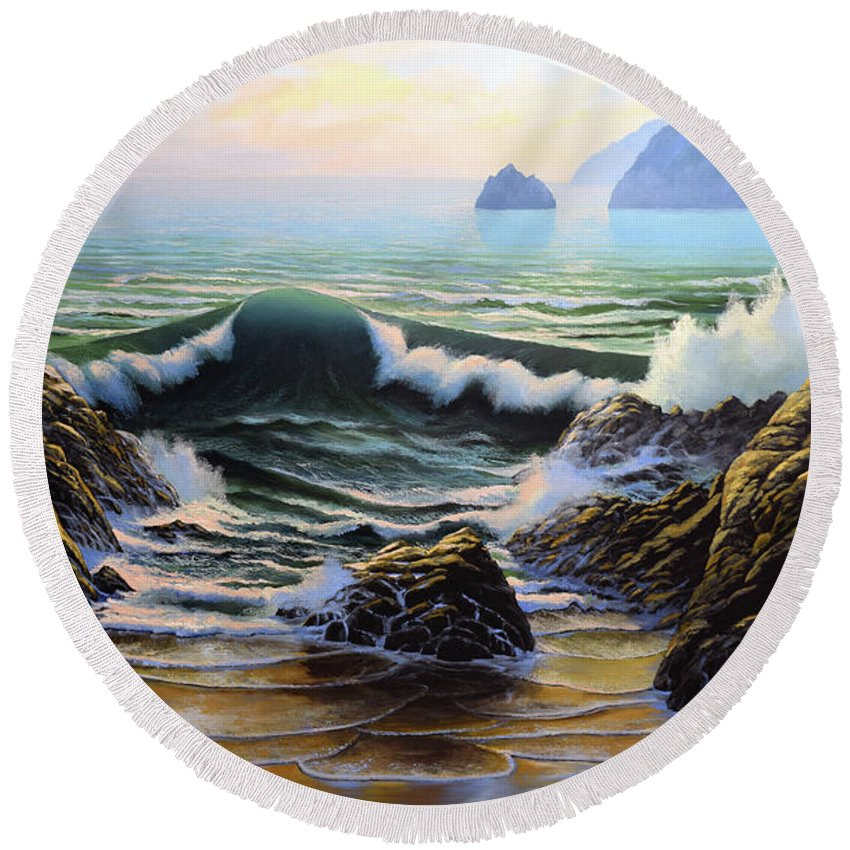 Dancing Tide Round Beach Towel featuring the painting Dancing Tide by Frank Wilson