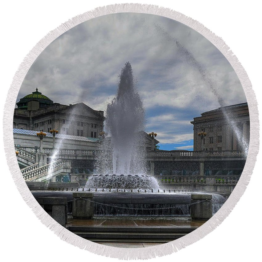 Architecture Round Beach Towel featuring the photograph Dancing Waters by Lois Bryan