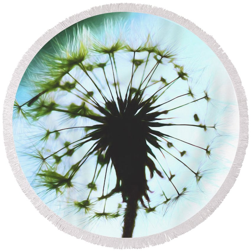 Dandelion Round Beach Towel featuring the photograph Dandelion Halo by Kay Brewer