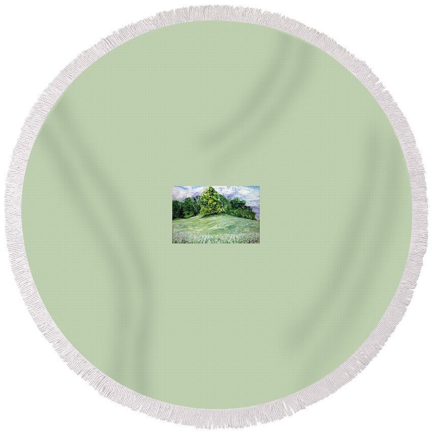Landscape Round Beach Towel featuring the painting Dandelions by Pablo de Choros