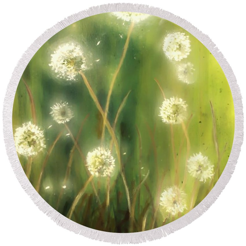 Ablaze Round Beach Towel featuring the painting Dandelions by Melissa Herrin