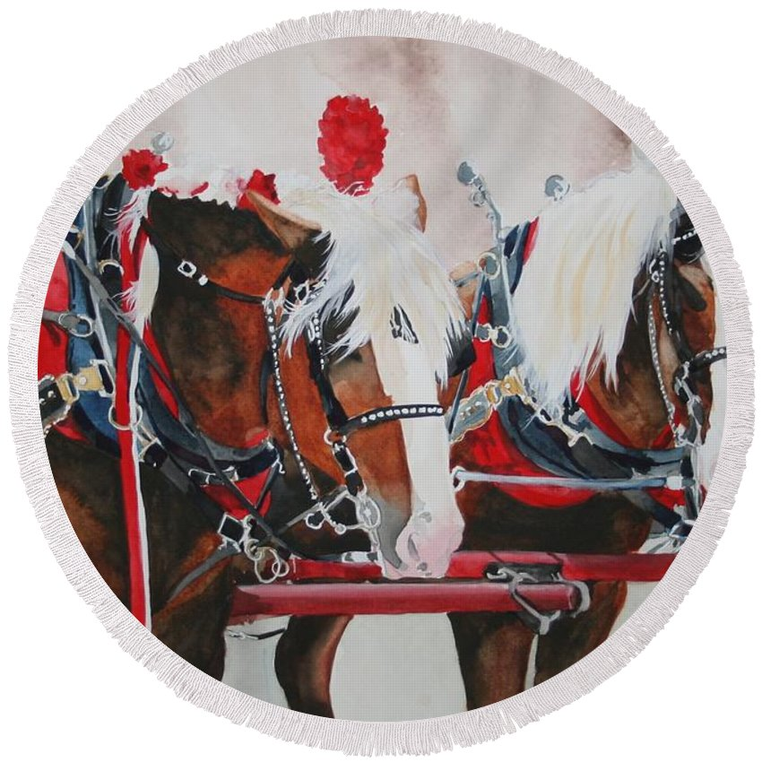 Horse Round Beach Towel featuring the painting Dandy Duo by Jean Blackmer