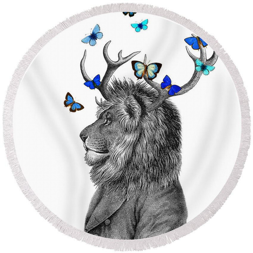 Lion Round Beach Towel featuring the digital art Dandy Lion With Antlers And Blue Butterflies by Madame Memento
