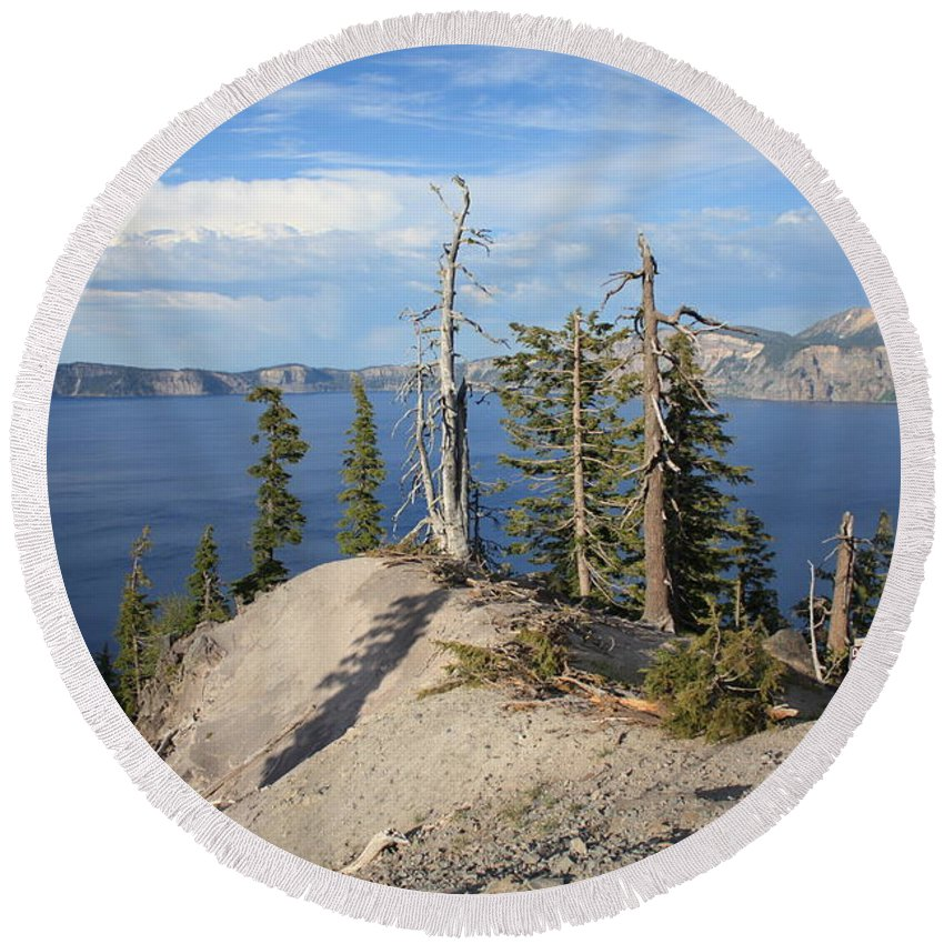 Crater Lake Round Beach Towel featuring the photograph Dangerous Slope At Crater Lake by Carol Groenen