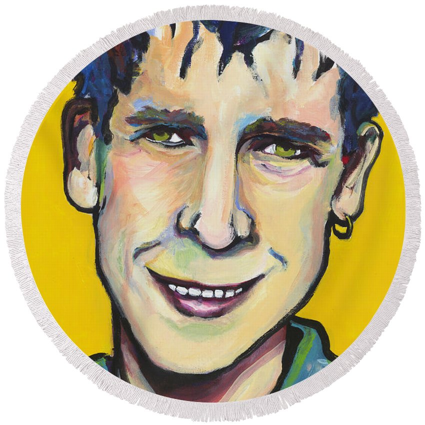 Portrait Round Beach Towel featuring the painting Daniel by Pat Saunders-White