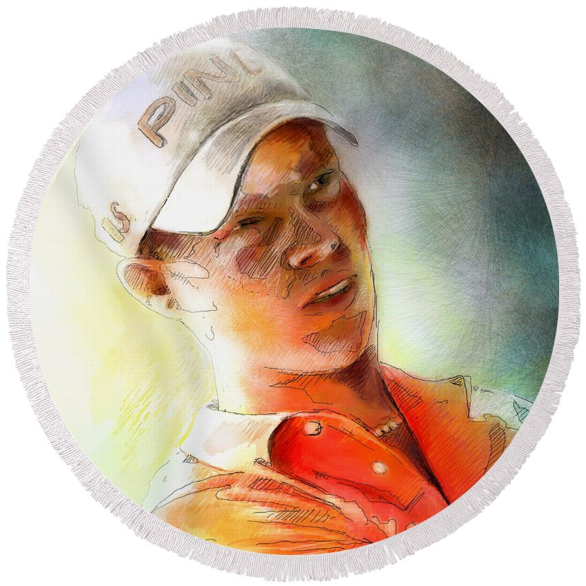 Gold Portrait Painting Danny Willett Art Madrid Masters Pga Tour Round Beach Towel featuring the painting Danny Willett In The Madrid Masters by Miki De Goodaboom