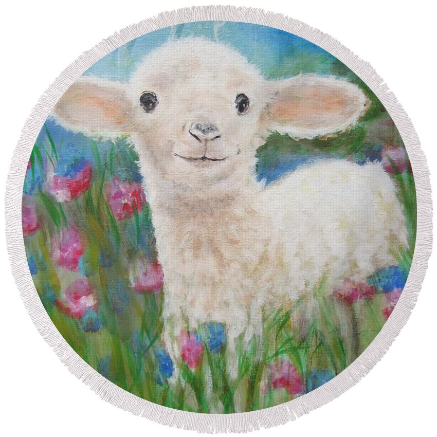 Lamb Round Beach Towel featuring the painting Flying Lamb Productions   Daphne Star In The Tall Grass by Sigrid Tune