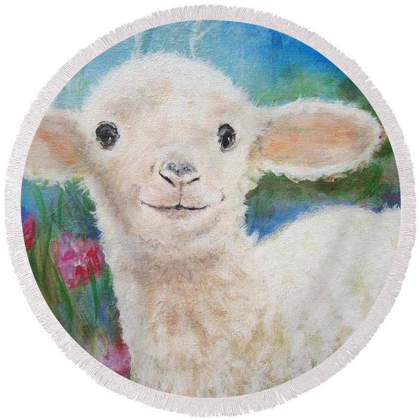 Lamb Round Beach Towel featuring the painting Daphne Star's Ears.  Flying Lamb Productions by Sigrid Tune