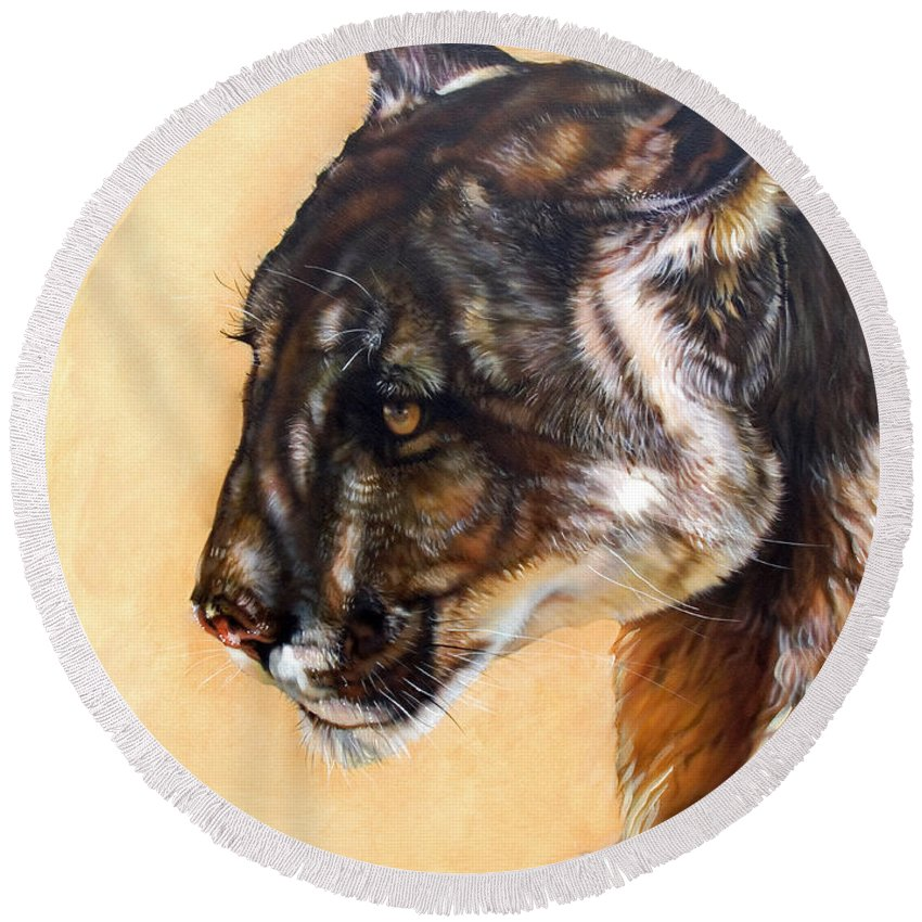 Catamount Round Beach Towel featuring the painting Dappled by J W Baker
