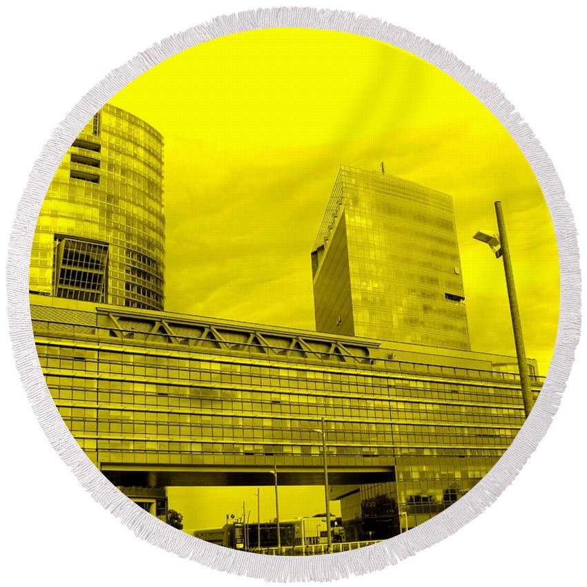 Vienna Round Beach Towel featuring the photograph Daring Architecture by Ian MacDonald