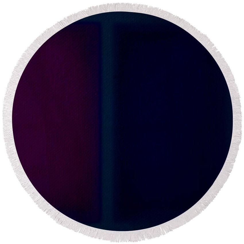 Rothko Round Beach Towel featuring the painting Dark Blue by Charles Stuart