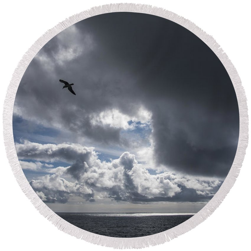 Clouds Round Beach Towel featuring the photograph Dark Cloud by Robert Potts