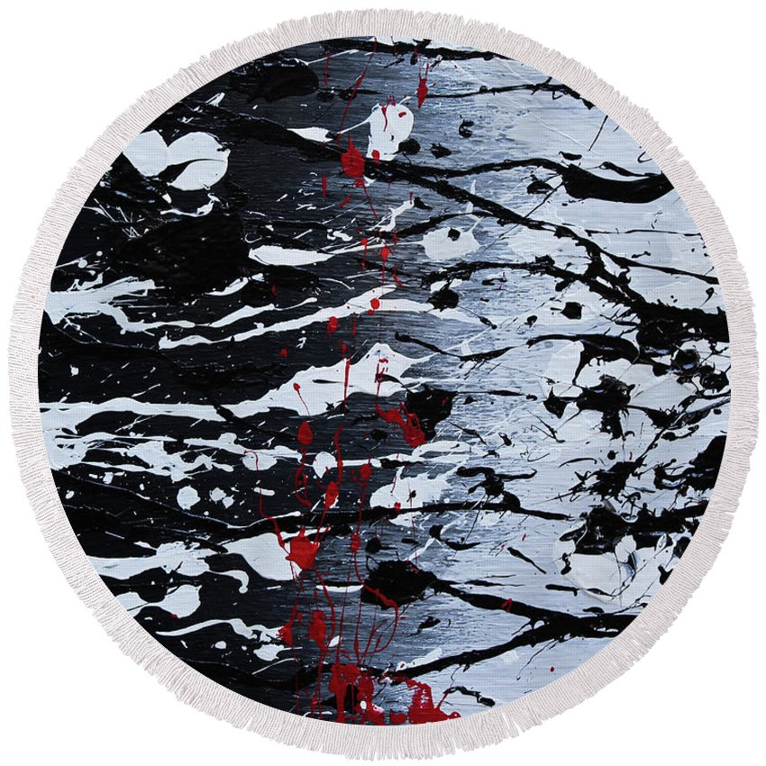 Round Beach Towel featuring the painting Dark Daze by Embrace The Matrix