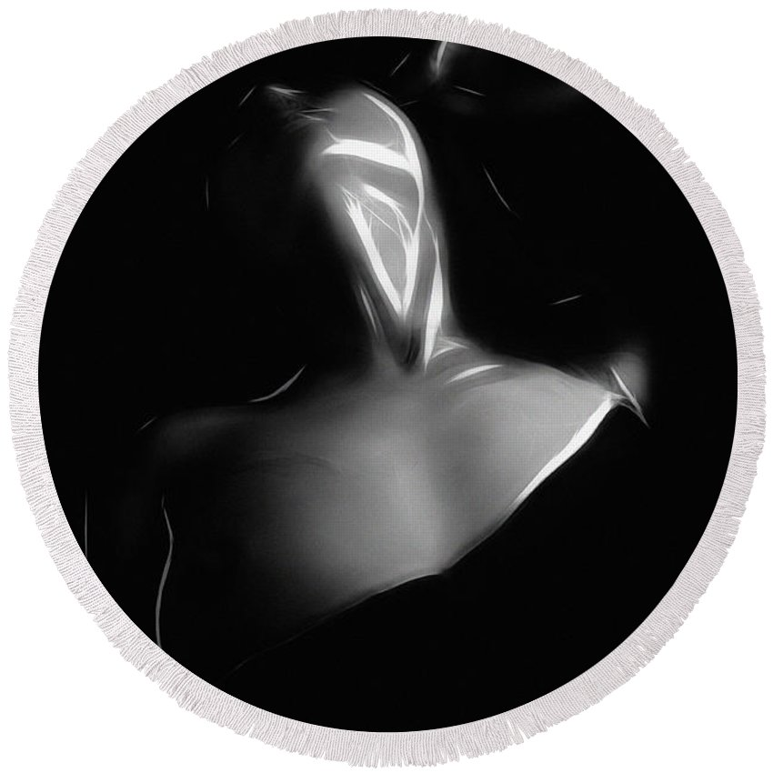 Dark Desire Sensual Nude Naked Woman Girl Breast Boobs Tits Erotic Sex Sexy Seduction Black White Expressionism Impressionism Round Beach Towel featuring the painting Dark Desire by Steve K