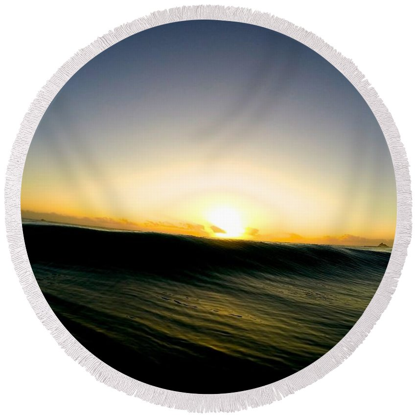 Wave Round Beach Towel featuring the photograph Dark Forces by Benen Weir