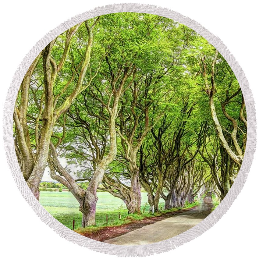Dark Hedges Round Beach Towel featuring the photograph Dark Hedges, Game Of Thrones by Bob Cuthbert