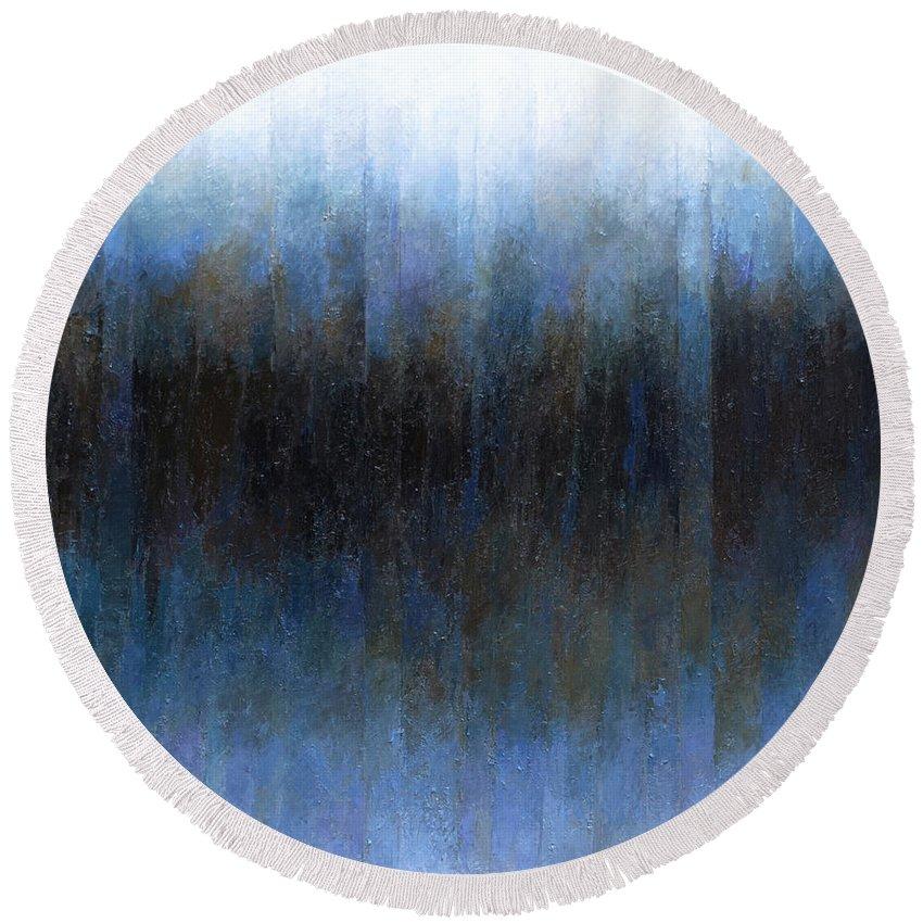 Dark Round Beach Towel featuring the painting Dark Ice by Jeremy Annett