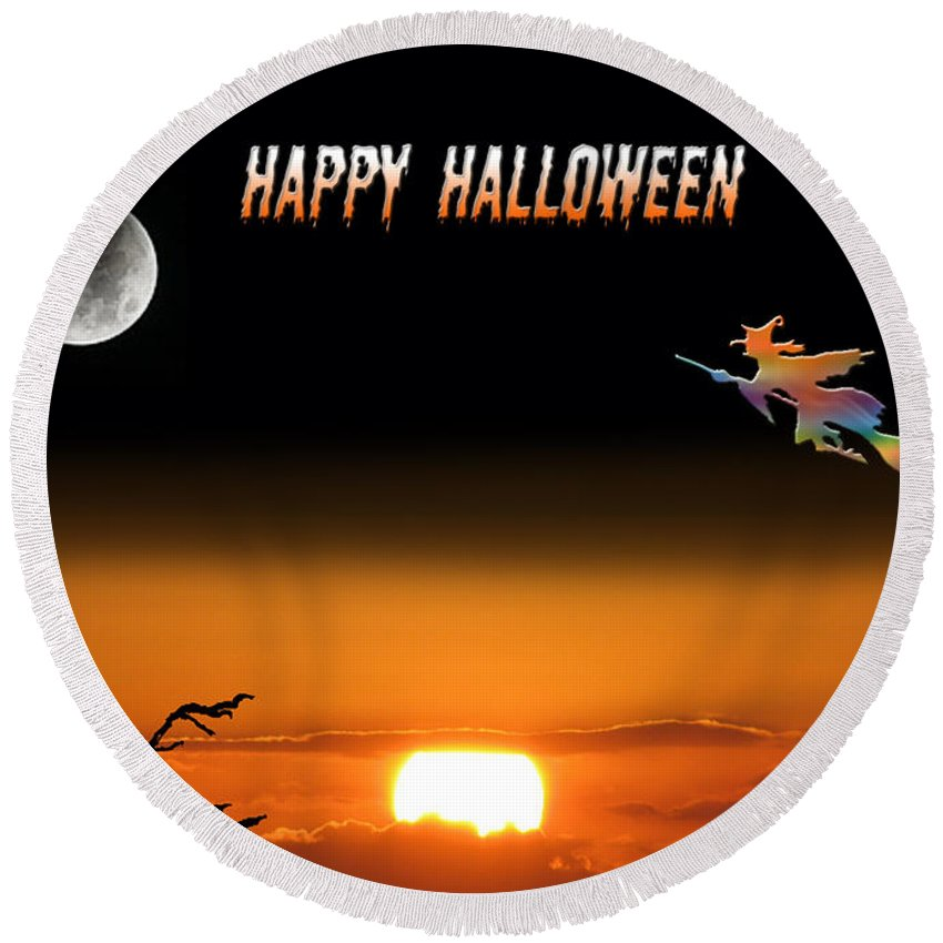 Holiday Card Round Beach Towel featuring the photograph Dark Night Halloween Card by Adele Moscaritolo