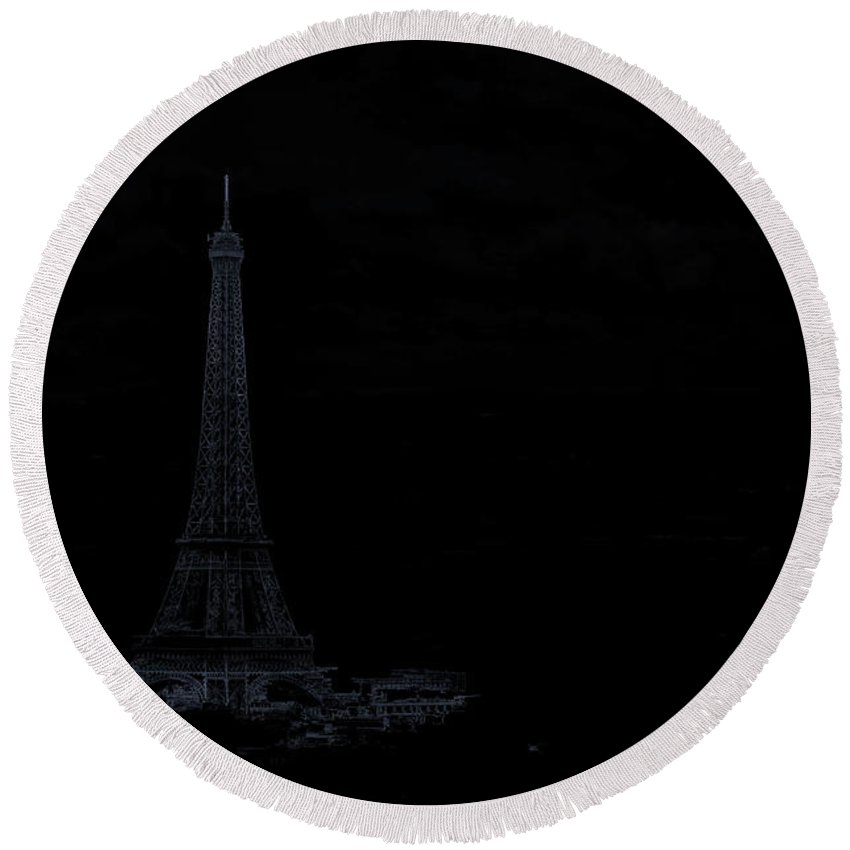 Abstract Round Beach Towel featuring the photograph Dark Paris by Rabiri Us