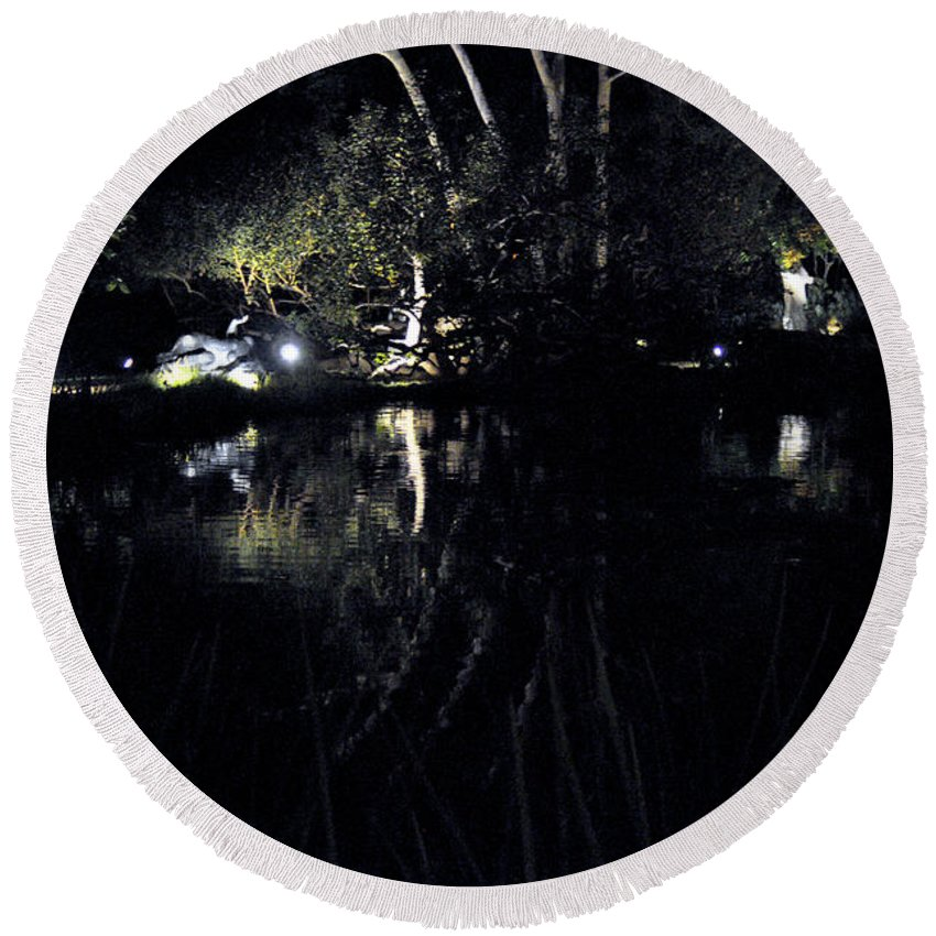 Clay Round Beach Towel featuring the photograph Dark Reflections by Clayton Bruster