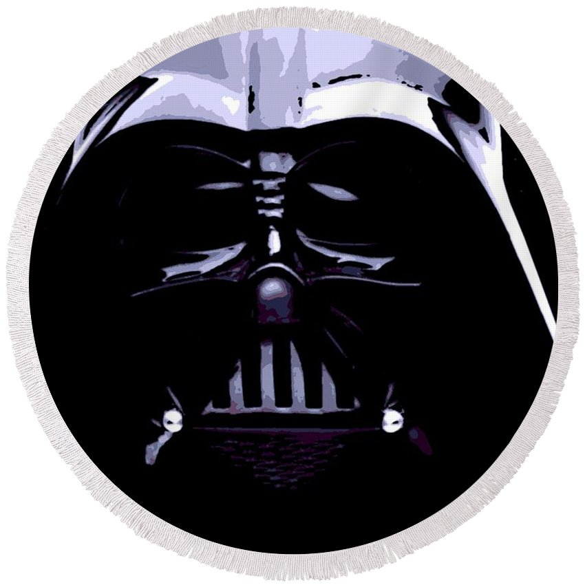 Darth Vader Round Beach Towel featuring the photograph Dark Side by George Pedro