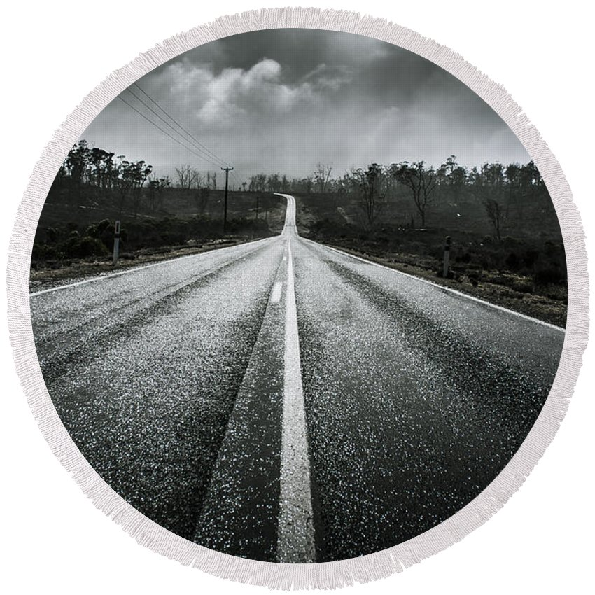 Road Round Beach Towel featuring the photograph Dark Stormy Road To Cradle Mountain In Tasmania by Jorgo Photography - Wall Art Gallery