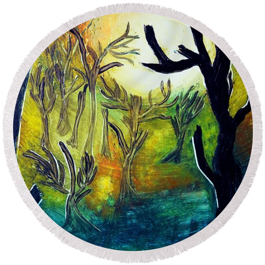 Dark Round Beach Towel featuring the painting Dark Trees by Valerie Dauce