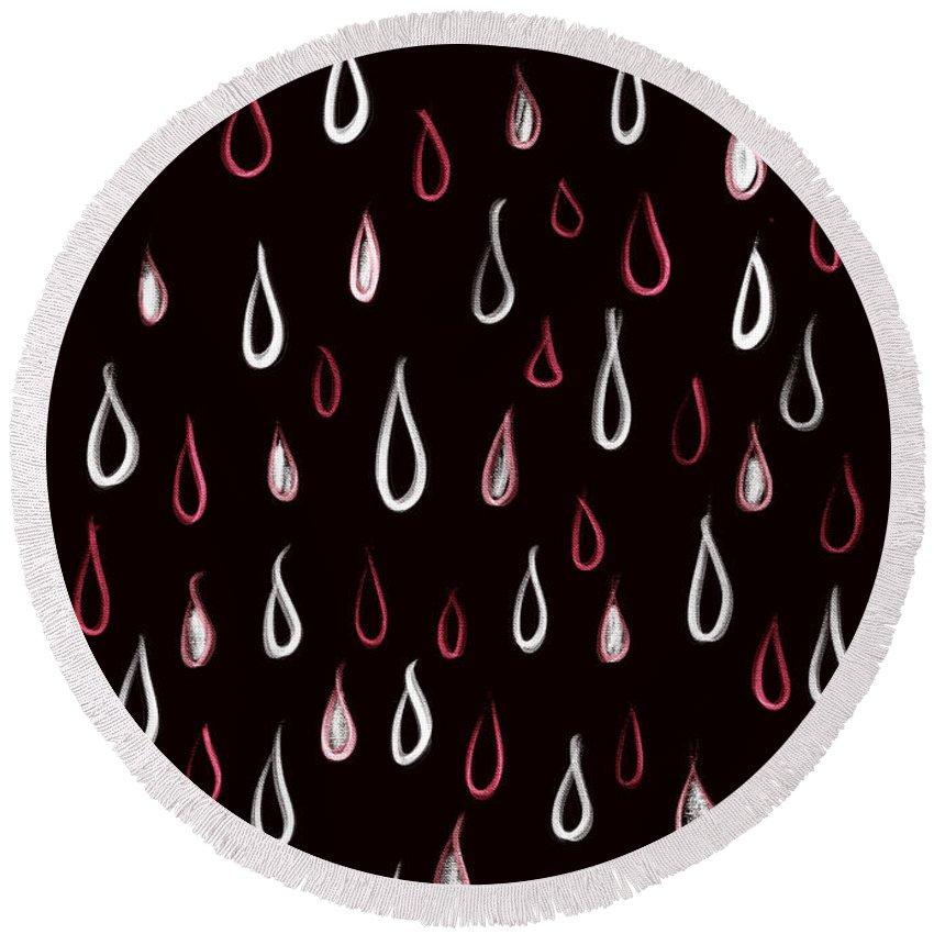 Rain Round Beach Towel featuring the digital art Dark White And Red Raindrops Pattern by Boriana Giormova