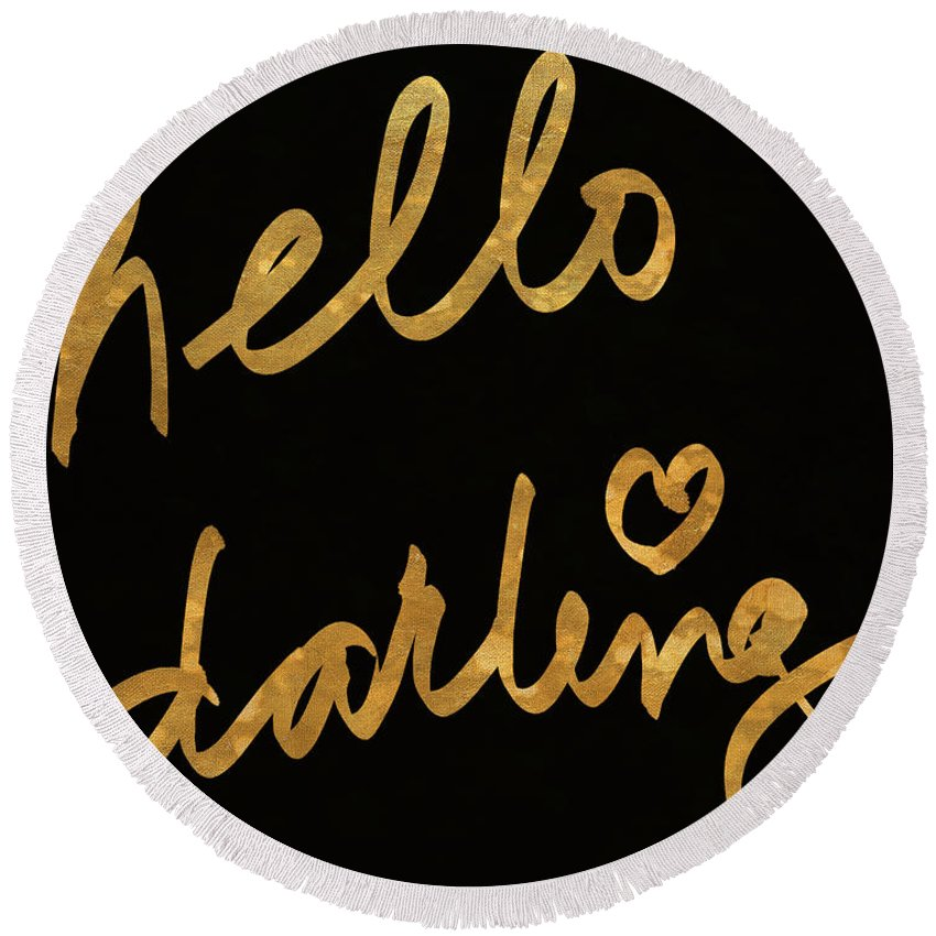 Darling Round Beach Towel featuring the painting Darling Bella I by South Social Studio