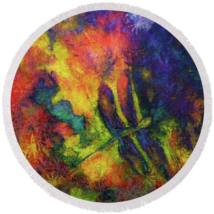 Dragonfly Round Beach Towel featuring the painting Darling Darker Dragonfly by Claire Bull