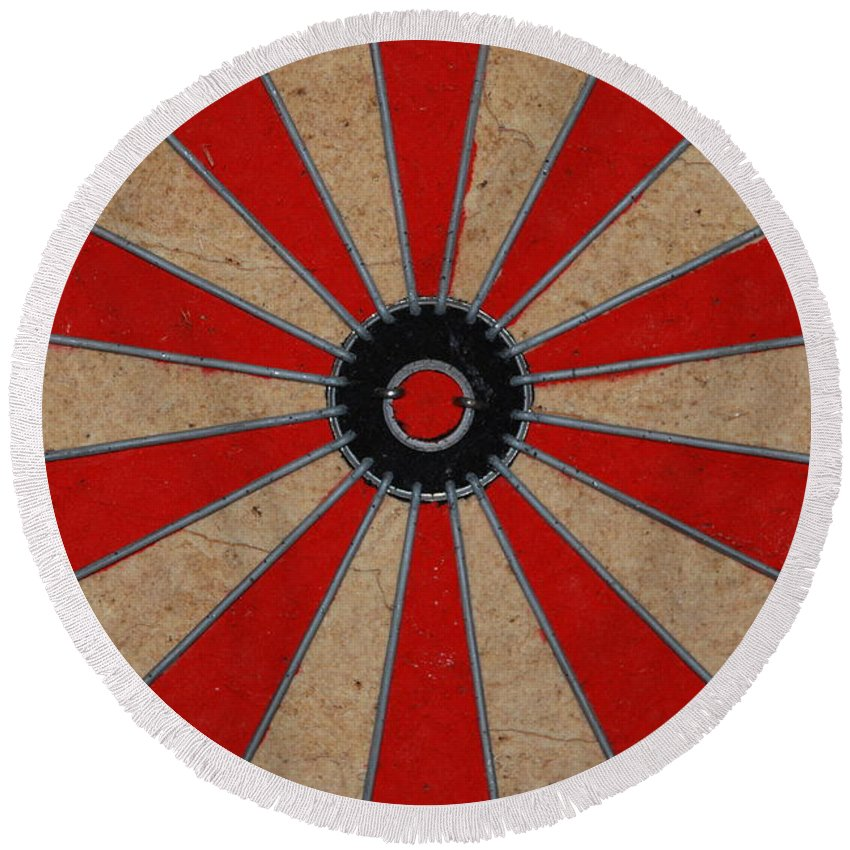 Art Round Beach Towel featuring the photograph Dart Board by Rob Hans