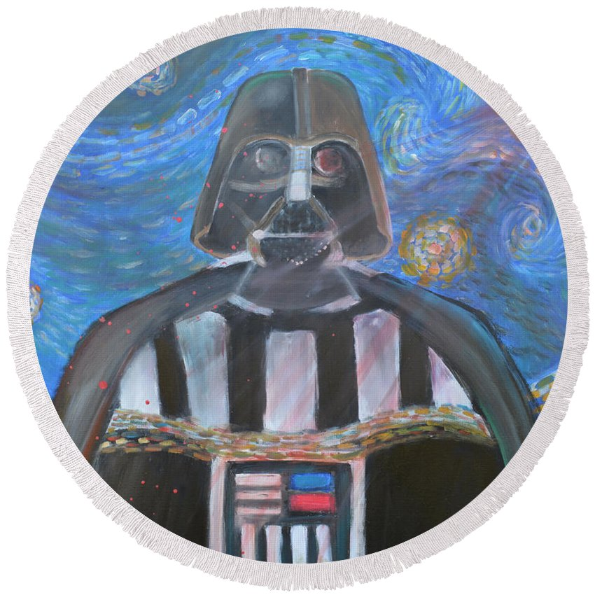 Star Wars Round Beach Towel featuring the painting Darth Vader by To-Tam Gerwe