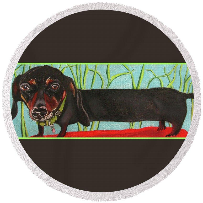 Dog Painting Round Beach Towel featuring the pastel Dash Hound by Michelle Hayden-Marsan