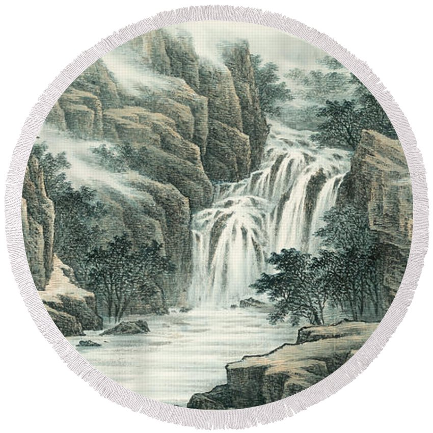 Landscape Round Beach Towel featuring the painting Dashan Waterfall by Dong Xiyuan