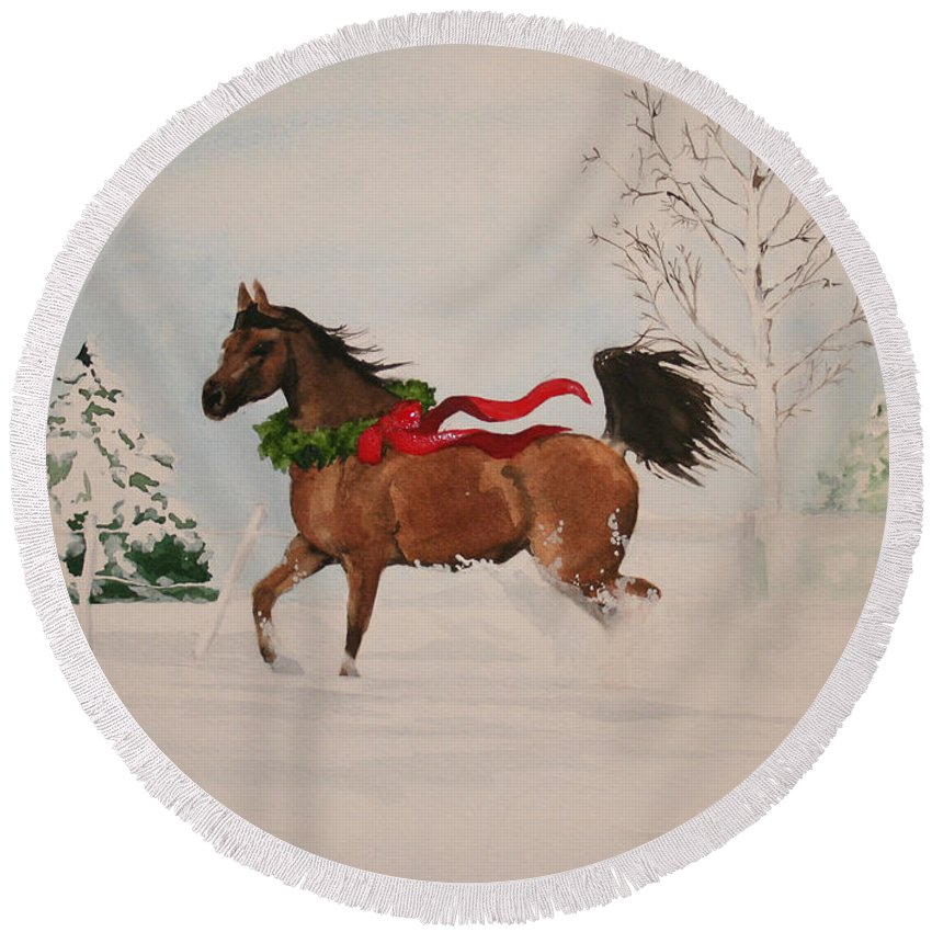 Horse Round Beach Towel featuring the painting Dashing Thru The Snow by Jean Blackmer