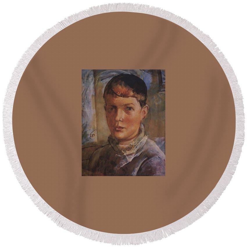 Man Round Beach Towel featuring the digital art Daughter Of The Artist 1933 Kuzma Sergeevich Petrov-vodkin by Eloisa Mannion