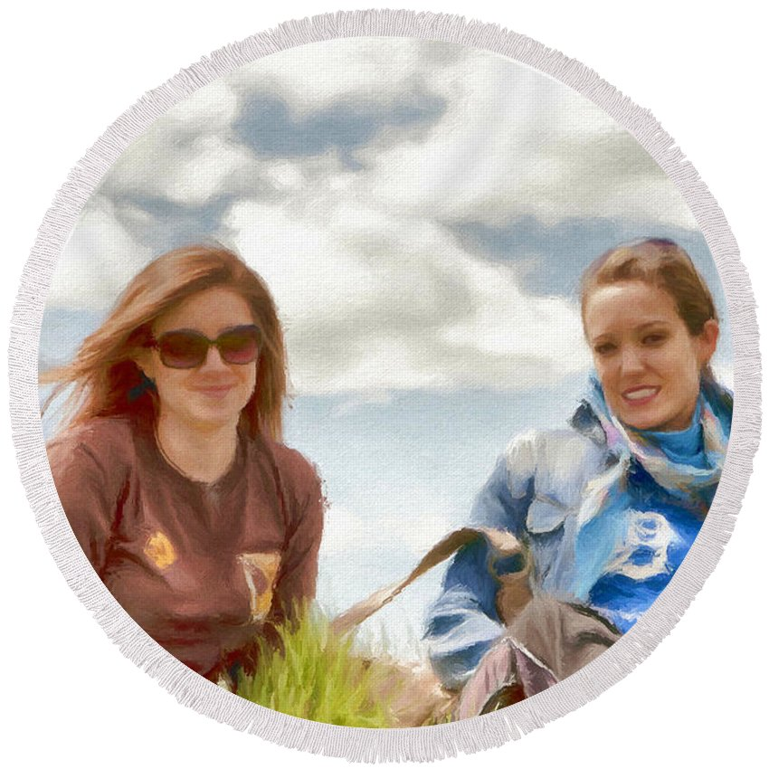 Canadian Round Beach Towel featuring the painting Daughters by Jeffrey Kolker