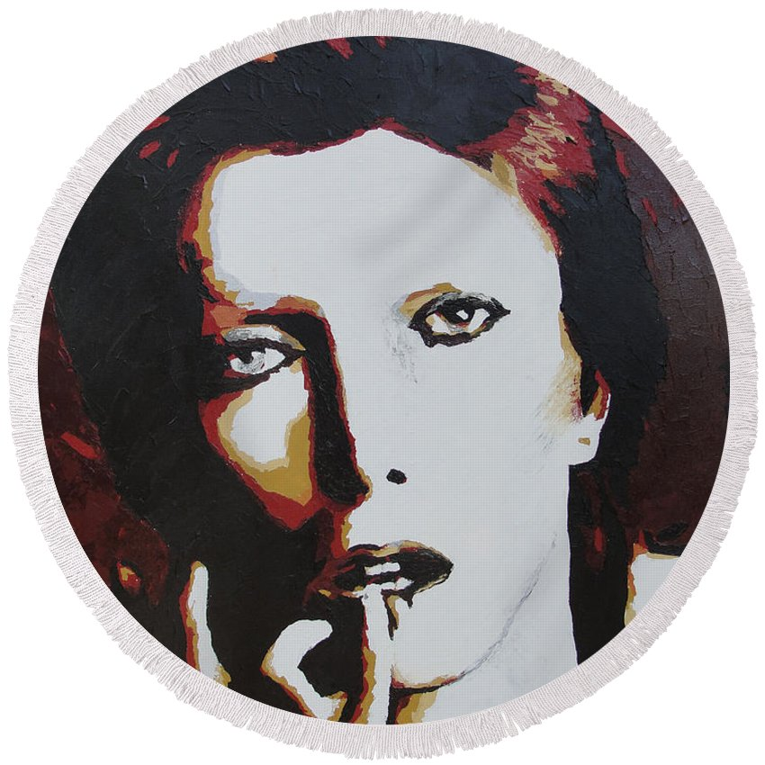 David Bowie Round Beach Towel featuring the painting David Bowie by Ricklene Wren