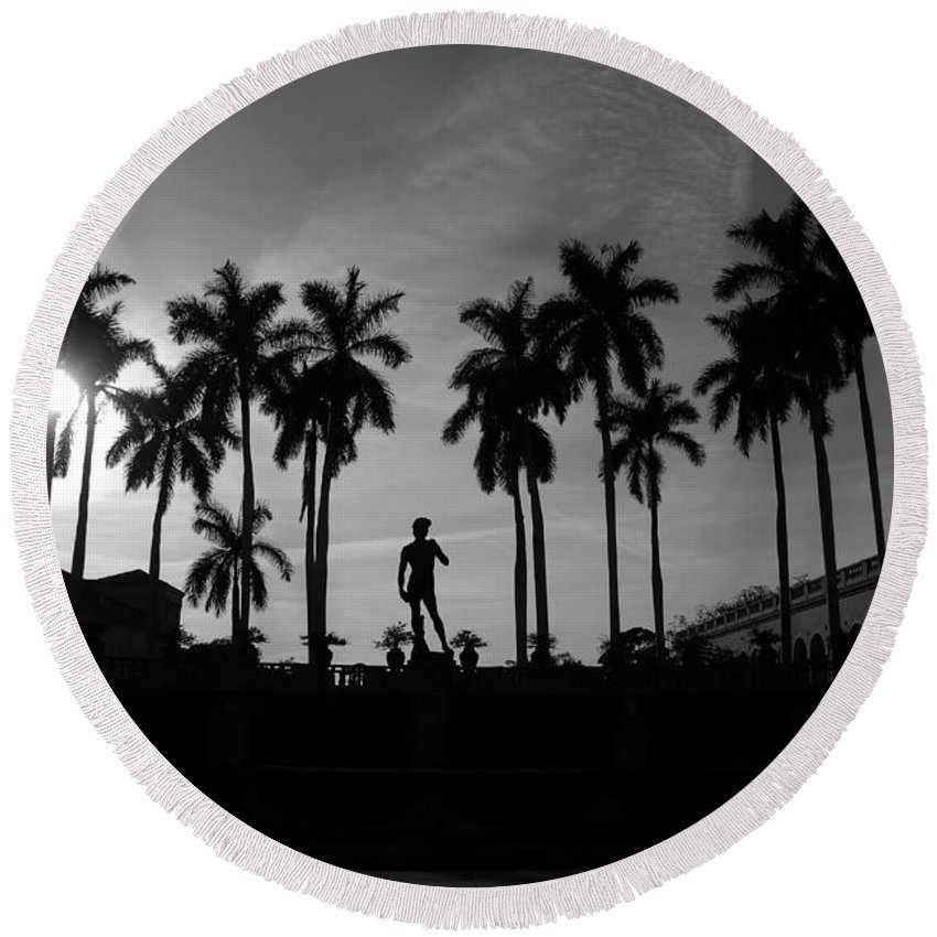 David Round Beach Towel featuring the photograph David With Palms by David Lee Thompson
