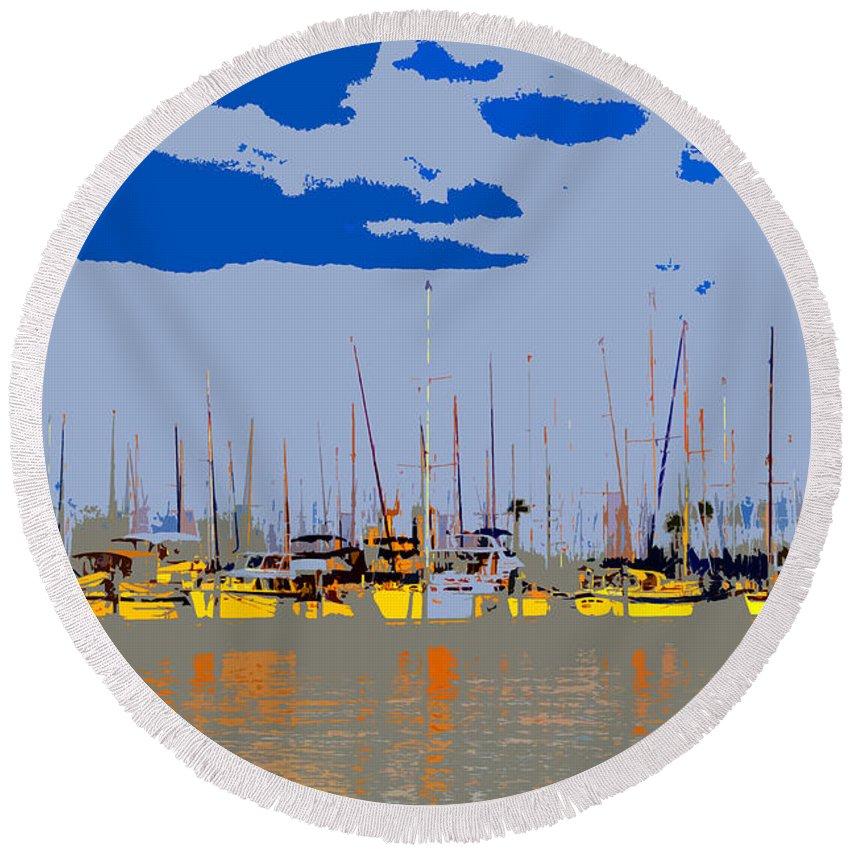 Davis Island Florida Round Beach Towel featuring the painting Davis Island Yachts by David Lee Thompson