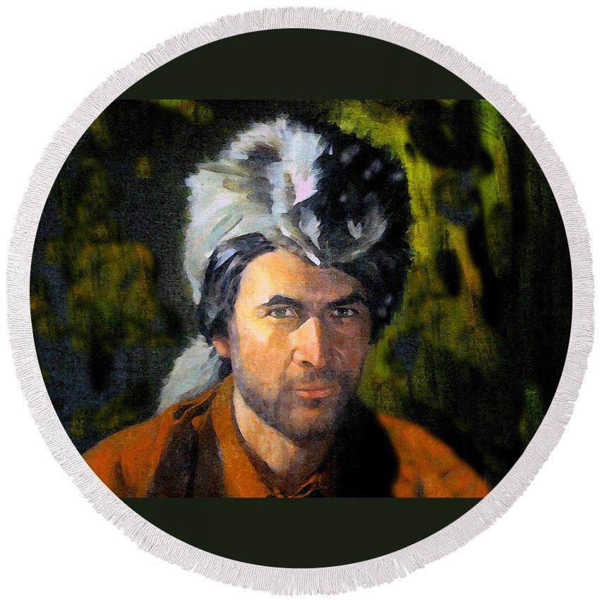 Davy Crockett Round Beach Towel featuring the painting Davy Crockett by David Lee Thompson